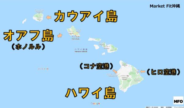 ハワイの島々の位置関係